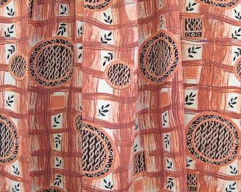 "vintage 1940's rayon fabric, orange ""plaid"" print w/ circles  - 4.25 yards @ 38"" wide"