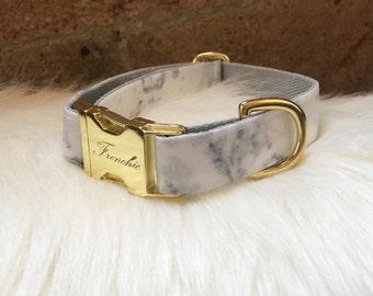 """Adjustable dog collar """"Snow white marble"""" (Laminated cotton fabric, impermeable)"""