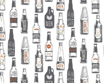 Beer Fabric, Beer Bottle Fabric - Hipster Brew from Dear Stella  659 White - Priced by the 1/2 yard