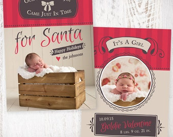 INSTANT DOWNLOAD - For Santa - Holiday Card Birth Announcement Template
