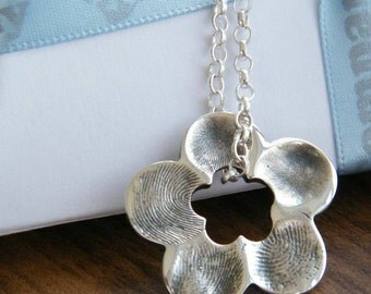 FINGERPRINT JEWELLERY- Solid silver flower fingerprint petal charm. Up to five fingerprints.