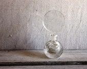 SALE : vintage crystal perfume bottle hand cut polished and etched with stopper dauber
