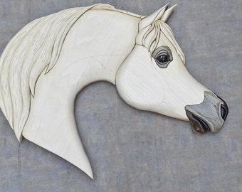 Handmade Arabian Horsehead Intarsia Woodwork