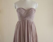 Short Sweetheart Bridesmaid Dress Knee-length/Floor Length Chiffon Strapless Bridesmaid Dress