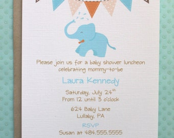 Blue Elephant and Bunting Baby Shower Invitations - Kraft Brown Orange Blue White Bunting Baby Elephant Shower Invites - Set of 10 Cards