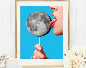 Moon print - Pop art poster - Lollipop art
