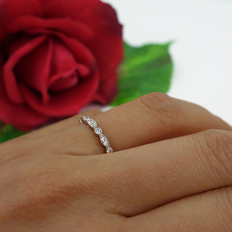 Art Deco Full Eternity Ring Marquise Round Wedding Band