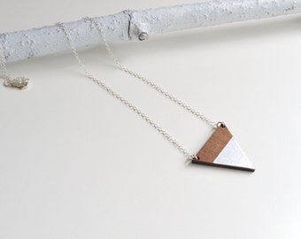 Triangle Geometric Contemporary Necklace in Walnut Wood with Silver Leaf - wooden triangle pendant - laser cut wood - triangle necklace
