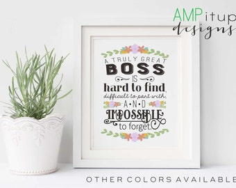 Printable Boss Gift - A Great Boss is Hard to Find - Boss Gift - Instant Download - Gift for Boss - Boss Printable - Typography - Boss Quote