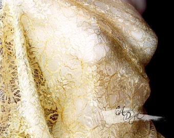 Vintage Gold Metallic Embroidery Corded Lace Fabric for DIY Bridal Gown, Bridesmaid dress, Mother's Scarf, Prom Event Attire. Ready to Ship