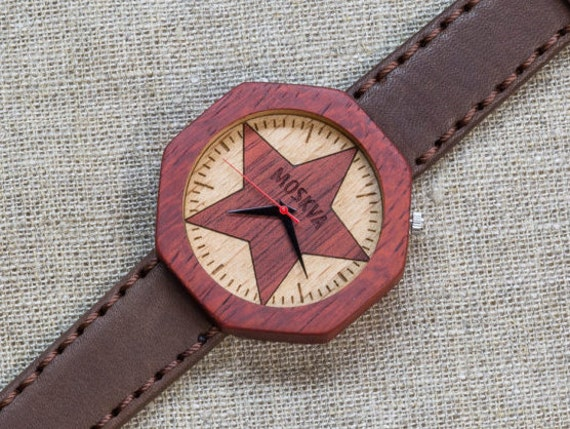 African Padauk minimal wood watch , Majestic Watch, Brown  Vintage Genuine Leather strap + Any Engraving / Gift Box. Anniversary  gift