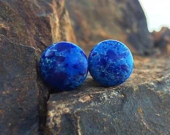 """Single Flare Blue Dyed Howlite 8g 6g 4g 2g 0g 00g 1/2"""" (12mm)"""