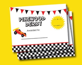 Cub Scout Pinewood Derby Award Certificate// 8x10inch// Instant Digital Download