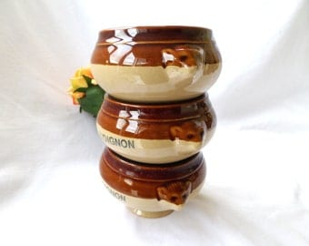 3 Stoneware Onion Soup bowls, Glazed brown tan, French Onion soup crocks, french mention Onion soup