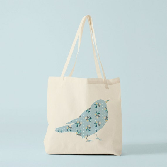Blue Floral Bird Tote Bag, canvas bag, cotton bag, ecofriendly bag, groceries bag, canvas shopper, novelty gift for coworker, gift women.
