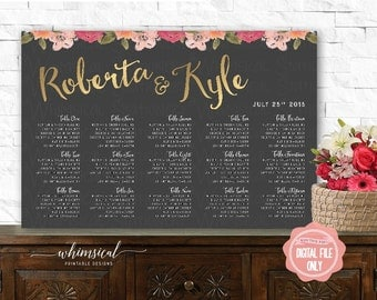 "Seating Chart ""Grey & Gold, Florals"" (Printable File Only) Seating Chart Poster, Seating Plan, Find Your Seat, Wedding Seating, Table Number"