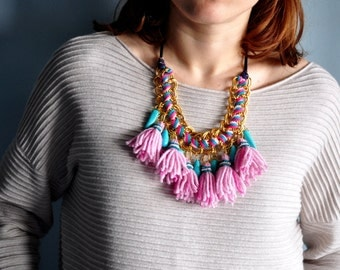 Frida Kahlo style - Bohemian gipsy  - Blue and Pink necklace - Braided necklace - Flashy jewelry - Statement necklace - Chunky necklace