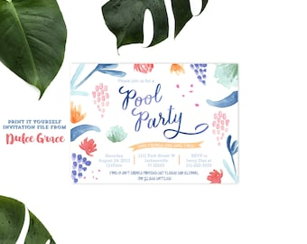 Pool Party invitations, summer party invitation, modern adult party invite, drinks party invite, birthday party invitation, DIY INVITATIONS