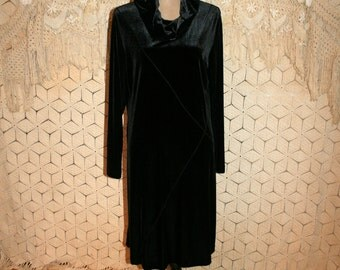 Vintage Black Velvet Dress Long Sleeve Black Dress Winter Dress Warm Dress Cowl Neck Minimalist Coldwater Creek Medium Large Womens Clothing