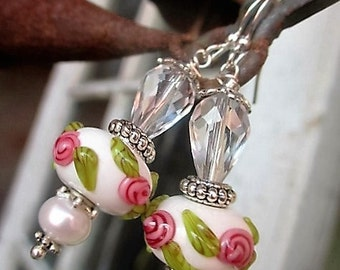 Lampwork Beads with Raised Flowers and Cultured Pearls Handmade Earrings
