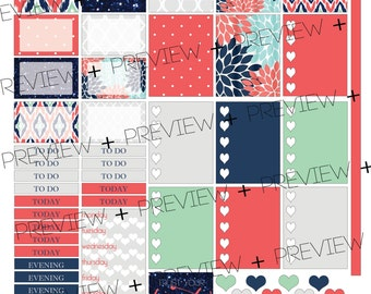 PRINTABLE Planner Stickers - Coral Story - 2 PAGES!