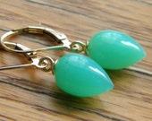 Green Chrysoprase Earrings Inverted Acorn Drops, Women's Jewelry, Gemstone Earrings, Gold Filled Leverbacks Ear Wires, KarenWolfeCreations