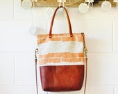 Tote Crossbody Bag -Leather Everyday purse- Mini Boho Carry All - Copper Print - Ethical Crossbody purse - Made in Australia