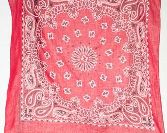Vintage Red Bandana | Hav-A-Hank Retro Circle Design Handkerchief | Made in USA Paisley Cowboy Scarf