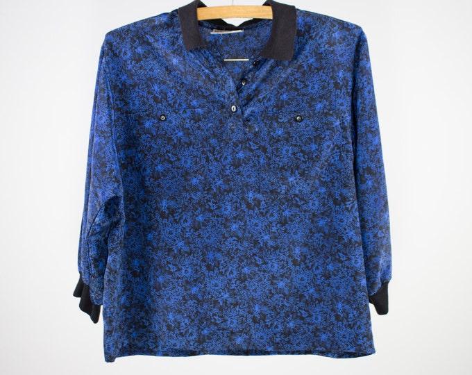 Vintage Blouse | 70s Floral Top | Black and Blue Shirt | Medium