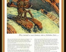 Illustration of Lewis and Clark and men portaging on a roaring river in vintage print ad- Ephemera, nostalgia, for decor, to frame