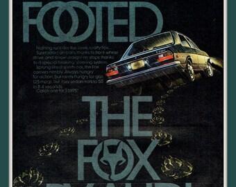 1974 Audi Fox vintage print ad- Sure Footed- Ephemera, print to frame, nostalgia, reference