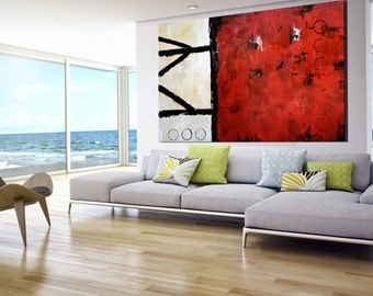 Extra Large Contemporary Painting, Huge Abstract Canvas Art, Original handmade painting, Acrylic, Abstract Canvas Art, Red, Cream, White