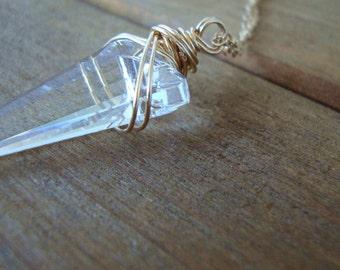 Clear Swarovski Spike Necklace - Handmade Jewelry - Swarovski Necklace - Minimalist Jewelry - Boho Jewelry - Gold-Filled Swarovski Necklace