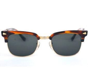Brown Havana Wayfarer Sunglasses. Mirage Comfort Italy. NEW OLD STOCK 80s. Refurbished