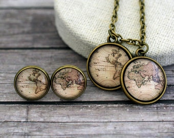 World Map Necklace, World Map Earrings, World map, Retro map, World Map Set, Globe Map, Continents Map, Earth Map