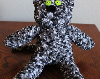 Handcrafted Plush Sock Cat - Black and White