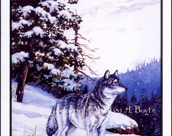 DOUBLE MATTED PRINT; wolf, from original painting, wall art, wildlife, wilderness, cliff, winter, 11 x 14 inches, Canadian art,