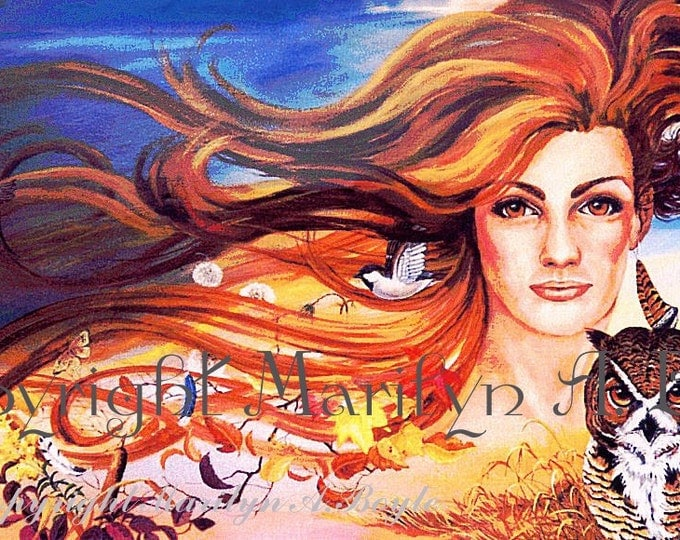 PRINT-FANTASY-NATURE;Lady, connected to all nature; tree, owl, birds, leaves, feathers, flora, autumn, wall art, character portrait, avatar,