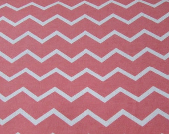 Flannel Fabric - Chevron Coral - 1 yard - 100% Cotton Flannel