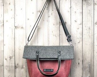 Women crossbody bag red rustic leather and felt shoulder satchel leather bag tote Gift for wife girlfriend