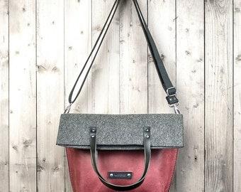 Charakterstück Crossbody bag, red leather and felt, shoulder bag, leather bag