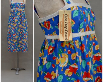 Vintage dress, 1970s blue floral sundress, Pretty printed summer festival dress, Deadstock / Unworn original stock, Empireline / High waist
