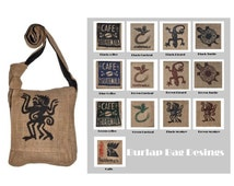 Burlap crossbody, messenger bag, Guatemala Coffee sack bags, El Quetzal emblematic bird, Turtle, Monkey, Lizzard screen print shoulder bag
