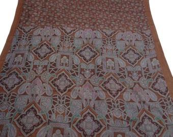Vintage Pure Silk Fabric Brown Sari Sarong Drape Floral Printed Fabric Dress Recycled Sari Women Wrap Indian Sari 5Yard PS39854