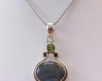 Labradorite Peridot Sterling Silver Pendant Necklace