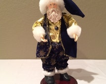 Vintage Santa clause Doll on Wood Stand 11""