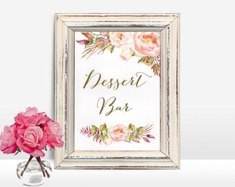 Printable Dessert Bar Sign, Floral Wedding Sign, Floral Dessert Table Sign, Printable Table Sign, Peony Dessert Bar Sign, Digital File