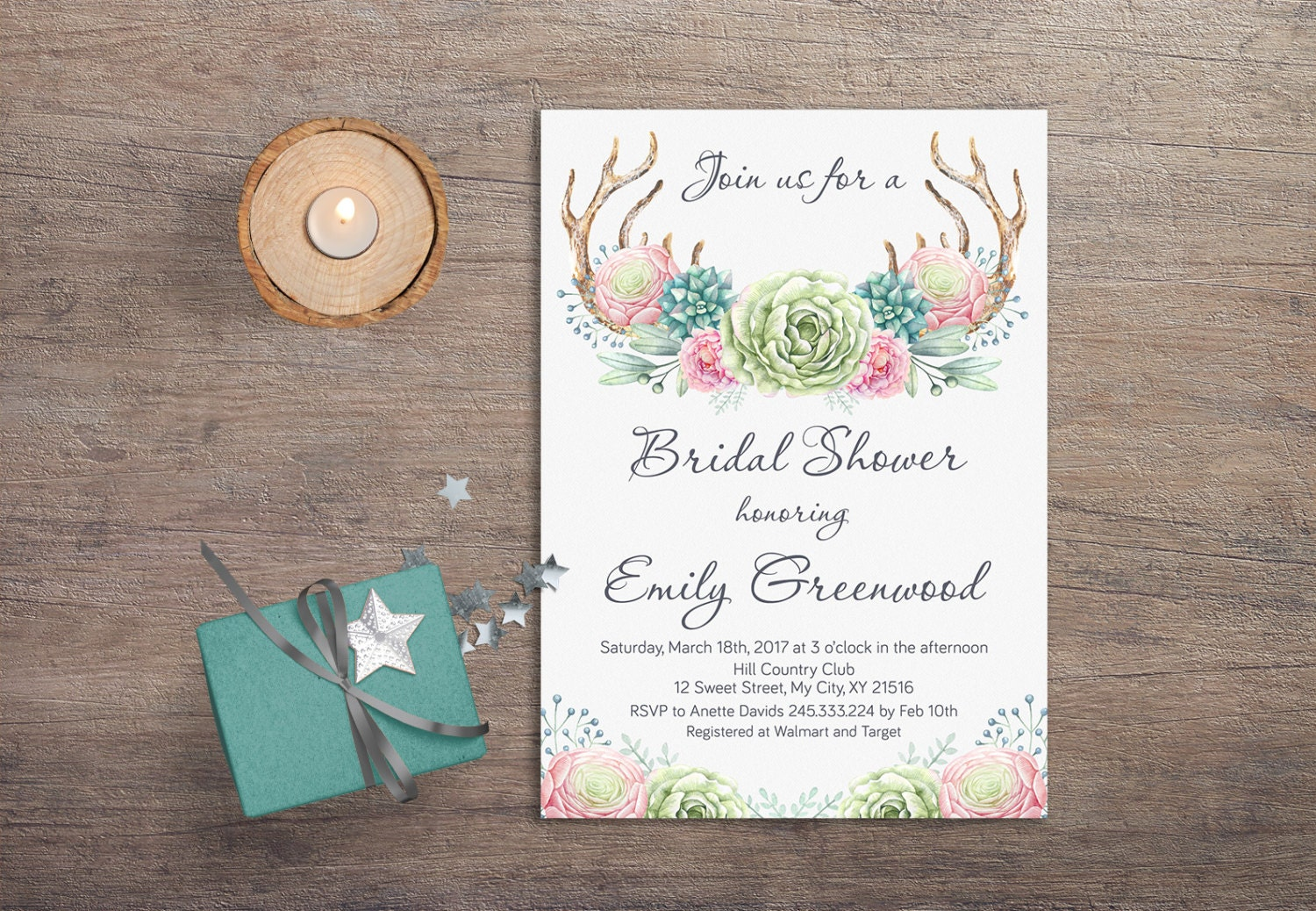 Deer Antlers Bridal Shower Invitation