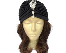 Black Turban Hat Fashion Turban Head Wrap Black Hat Turbinate Great Gatsby 1920s Hat with Rhinestone Jewelry