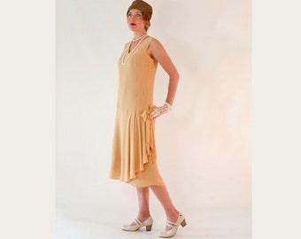 1920s drop waist dress in dark beige with drape and bow, Roaring Twenties fashion, 1920s flapper dress, Great Gatsby dress, Charleston dress